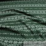 Stoff Wolle Polyester Strick Norweger flaschengrün angeraut Sweatshirt weich