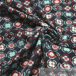 Stoff Baumwolle Lycra Single Jersey dunkelblau Blume bunt Loop T-shirt