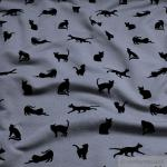 Stoff Baumwolle Lycra Single Jersey mausgrau schwarze Katze angeraut grau weich