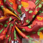 Stoff Kinderstoff Baumwolle rubinrot wilde Tiere Affe Elefant Giraffe Löwe Zebra
