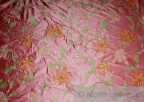 Stoff Dupionseide rosè Stickerei Phantasieblume edel bestickt Blüte Barock Seide