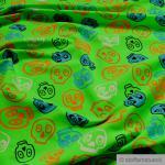 Stoff Kinderstoff Baumwolle Lycra Single Jersey neongrün Totenkopf grün