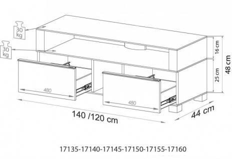 """VCM TV-Möbel """"Porano Schwarz"""" LCD TV Hifi Standkonsole Rack Tisch in 2 Größen - Vorschau 5"""