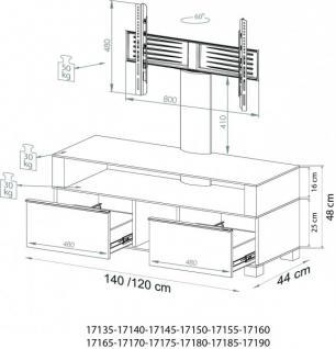 """VCM """"Ravenna"""" mit Halterung Möbel LCD TV Hifi Standkonsole Rack Tisch Schwarz - Vorschau 5"""