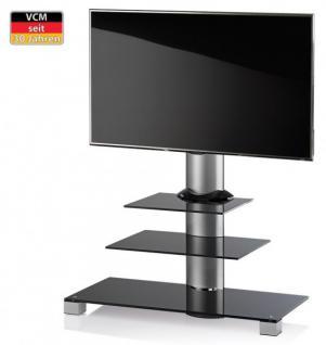 "VCM TV-Standfuß ""Amalo"" Schwarzglas LCD LED Hifi Standkonsole Rack Tisch"
