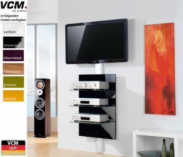 """VCM """"Xeno-3"""" Klarglas TV Hifi Wandkonsole Wandpaneel Wandhalterung in 6 Farben - Vorschau 1"""