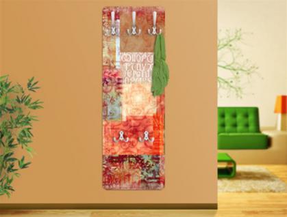 "Design Wandgarderobe ""Schriftmuster"" Print Garderobe Möbel Diele Flur Haken Neu"