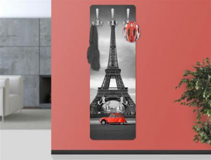 "Design Wandgarderobe ""Paris"" Print Garderobe Möbel Diele Flur Haken Neu"