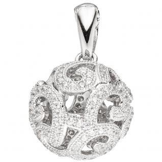 Anhänger Kugel 925 Sterling Silber rhodiniert mit Zirkonia