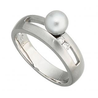 Damen Ring 585 Gold Weißgold mattiert 1 Akoya Perle 2 Diamanten Brillanten