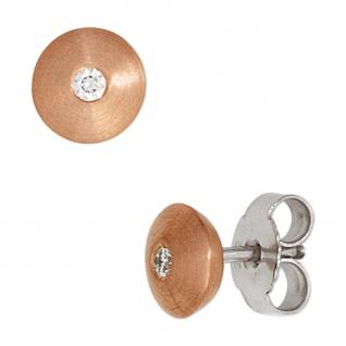 Ohrstecker rund 585 Gold Rotgold Weißgold bicolor mattiert 2 Diamanten Ohrringe