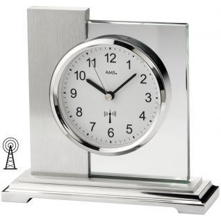 AMS 5140 Tischuhr Funk silbern eckig modern Metall mit Glas Funktischuhr
