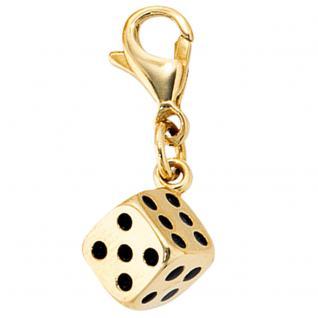 Einhänger Charm Würfel 333 Gold Gelbgold mit schwarzer Lackeinlage Goldcharm