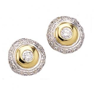 Ohrstecker 585 Gold Weißgold Gelbgold bicolor 32 Diamanten Brillanten Ohrringe