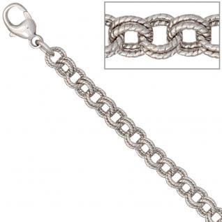 Zwillings-Ankerarmband 925 Silber mattiert 19 cm Armband Silberarmband Karabiner