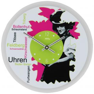 AMS 9967 Wanduhr ZEIT-TRÄGERIN Quarz analog schwarz pink grün rund mit Glas
