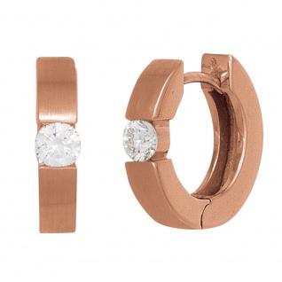 Creolen rund 585 Gold Rotgold mattiert 2 Diamanten Brillanten 0, 15ct. Ohrringe