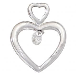Anhänger Herz 585 Gold Weißgold 1 Diamant Brillant 0, 10ct. Herzanhänger