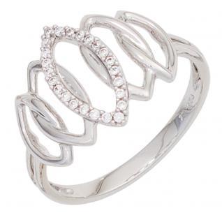 Damen Ring 333 Gold Weißgold 24 Zirkonia Goldring