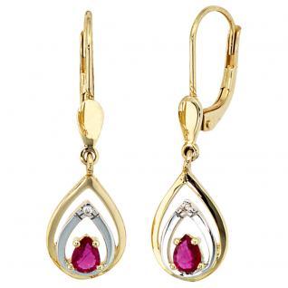 Boutons 585 Gold Gelbgold 2 Diamanten Brillanten 2 Rubine rot Ohrringe Ohrhänger