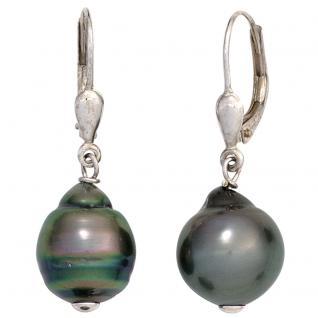 Boutons 925 Sterling Silber 2 Tahiti Perlen Ohrringe Ohrhänger Perlenohrringe