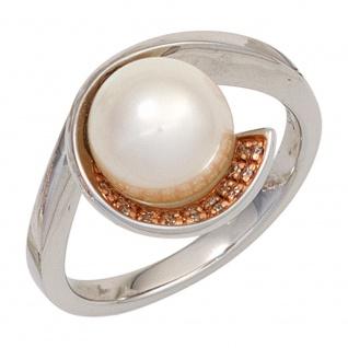 Damen Ring 585 Gold Weißgold 1 Süßwasser Perle 17 Diamanten Brillanten Goldring