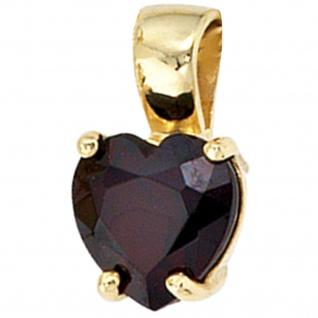 Anhänger Herz 333 Gold Gelbgold 1 Granat rot Herzanhänger