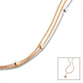 Halskette Kette 3-reihig 585 Gold Gelbgold Weißgold bicolor 42 cm Karabiner