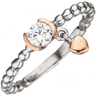 Damen Ring Kugel 925 Sterling Silber bicolor 1 Zirkonia Kugelring - 50
