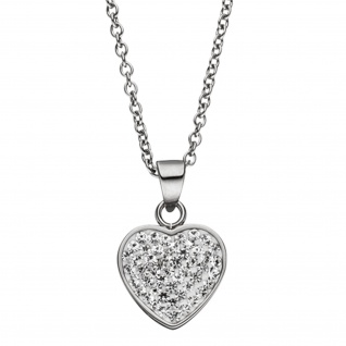 Collier Kette mit Anhänger Herz aus Edelstahl mit Kristallen 45 cm