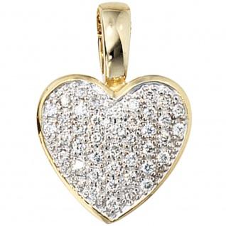Anhänger Herz 585 Gold Gelbgold 42 Diamanten Brillanten 0, 25ct. Herzanhänger
