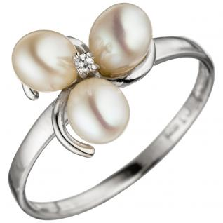 Damen Ring 925 Silber 3 Süßwasser Perlen 1 Zirkonia Perlenring Silberring - 50