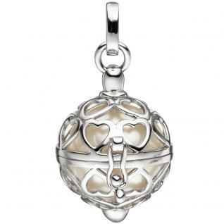 Anhänger Kugel zum Öffnen 925 Sterling Silber mit Perle weiß