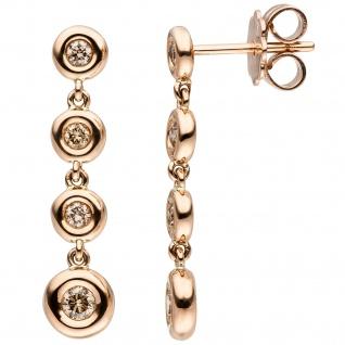 Ohrhänger 585 Gold Rotgold 8 Diamanten Brillanten braun Ohrringe Diamantohrringe