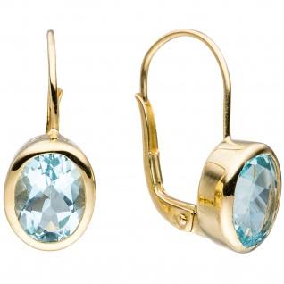 Boutons oval 333 Gold Gelbgold 2 Blautopase hellblau blau Ohrringe Ohrhänger