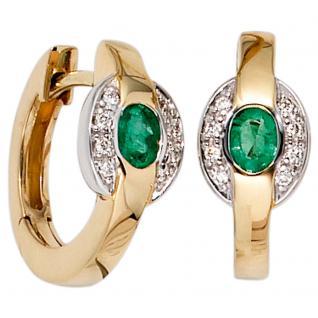 Creolen 585 Gold Gelbgold bicolor 16 Diamanten 2 Smaragde grün Ohrringe