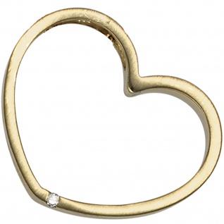 Anhänger Herz 585 Gold Gelbgold mattiert 1 Diamant Brillant Herzanhänger