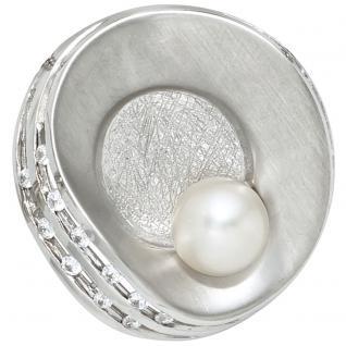 Anhänger 925 Sterling Silber eismatt mattiert 1 Süßwasser Perle Perlenanhänger