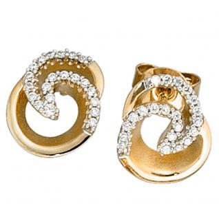 Ohrstecker 585 Gold Gelbgold bicolor mattiert 42 Diamanten Brillanten Ohrringe