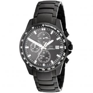 JOBO Herren Armbanduhr Quarz Chronograph Titan Datum Herrenuhr schwarz