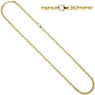 Ankerkette 585 Gold Gelbgold diamantiert 3 mm 50 cm Kette Halskette Goldkette