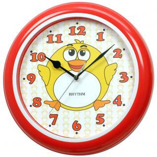 Rhythm 7505/1 Wanduhr für Kinder Ente rot leise Kinderwanduhr ohne Ticken