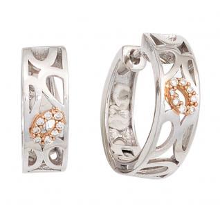 Creolen rund 585 Gold Rotgold bicolor 16 Diamanten Brillanten Ohrringe