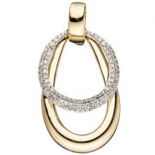 Einhänger Anhänger 585 Gelbgold Weißgold bicolor 87 Diamanten Brillanten