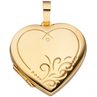 Medaillon Herz für 2 Fotos 925 Silber gold vergoldet Anhänger zum Öffnen