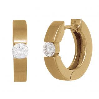 Creolen rund 585 Gold Gelbgold mattiert 2 Diamanten Brillanten 0, 20ct. Ohrringe