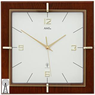 AMS 5834 Wanduhr Funk Funkwanduhr analog eckig Holz nussbaum farben mit Glas