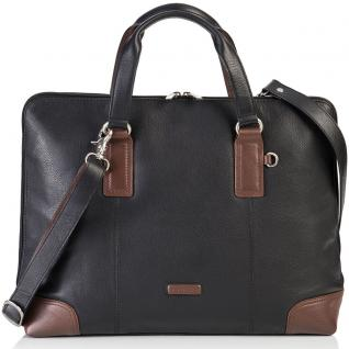 Bodenschatz Business-Handtasche ROYAL NAPPA 16 Zoll Farbe schwarz/tan (braun)