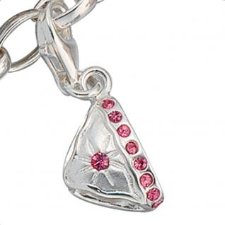 Einhänger Charm Bikinihose Bikini 925 Sterling Silber mit Zirkonia pink