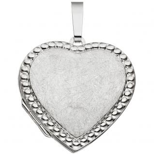 Medaillon Herz für 2 Fotos 925 Sterling Silber eismatt Anhänger zum Öffnen
